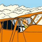 Tim und Struppi Oranges Flugzeug Stoffbild 1 m x 1 m