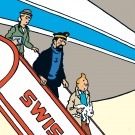Tim und Struppi Swissair Gangway Stoffbild 1 m x 1 m