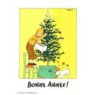 Tim und Struppi Weihnachts-Postkarte Tanne
