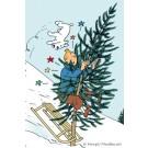 Tim und Struppi Weihnachts-Postkarte Sturz