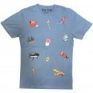 Tim und Struppi T-Shirt Ikonen blau Größe S